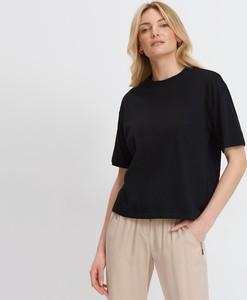 Czarny t-shirt Mohito w stylu casual