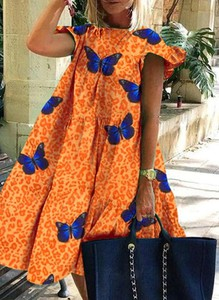 Pomarańczowa sukienka Sandbella mini w stylu casual z długim rękawem