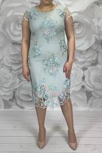 Sukienka Dorota midi z okrągłym dekoltem dopasowana