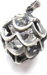 Venus Galeria Wisiorek srebrny oksydowany - Ażurowa kula z cyrkonią