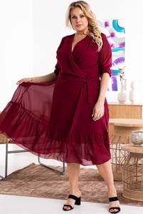 Czerwona sukienka KARKO z długim rękawem z dekoltem w kształcie litery v kopertowa