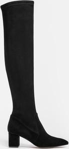 Czarne kozaki Kazar za kolano z zamszu
