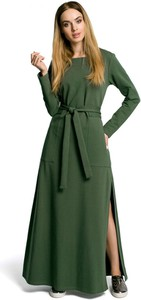 Sukienka MOE z dresówki z okrągłym dekoltem