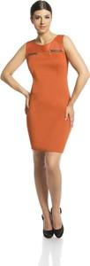 Pomarańczowa sukienka Fokus bez rękawów z okrągłym dekoltem mini