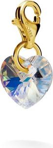 GIORRE SREBRNY CHARMS KRYSZTAŁ SERCE SWAROVSKI 925 : Kolor kryształu SWAROVSKI - Crystal AB, Kolor pokrycia srebra - Pokrycie Żółtym 24K Złotem