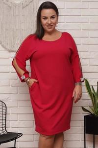 Sukienka KARKO z okrągłym dekoltem z długim rękawem ołówkowa