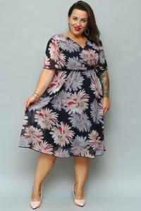 Sukienka KARKO z krótkim rękawem midi z szyfonu