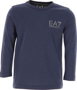 Niebieska koszulka dziecięca Emporio Armani z bawełny