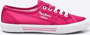 Różowe trampki Pepe Jeans niskie z płaską podeszwą sznurowane