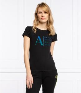 Czarny t-shirt Armani Exchange z krótkim rękawem z okrągłym dekoltem w młodzieżowym stylu