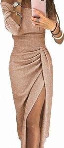 Brązowa sukienka Arilook z długim rękawem z dekoltem w kształcie litery v maxi