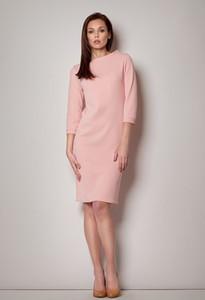 Różowa sukienka Figl ołówkowa z długim rękawem z okrągłym dekoltem