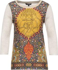 Bluzka Desigual w stylu casual z okrągłym dekoltem z długim rękawem