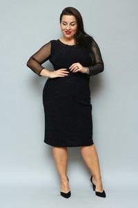 Czarna sukienka KARKO z długim rękawem