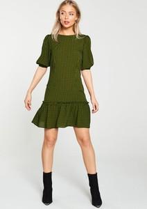 Zielona sukienka V by Very mini w stylu casual