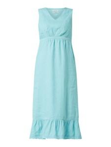 Niebieska sukienka Malvin z dekoltem w kształcie litery v z lnu