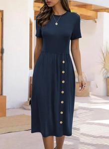 Sukienka Sandbella z dresówki midi z krótkim rękawem