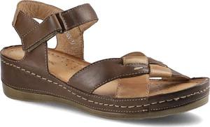 Brązowe sandały Wasak ze skóry na koturnie w stylu casual