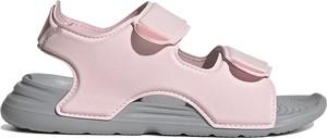 Różowe buty dziecięce letnie Adidas na rzepy