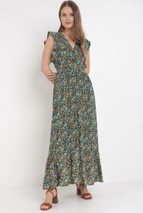 Granatowa sukienka born2be z dekoltem w kształcie litery v w stylu boho
