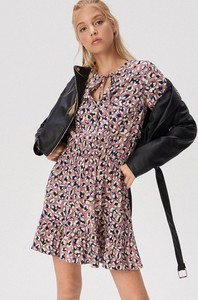 Turkusowa sukienka Sinsay mini z żabotem w stylu casual