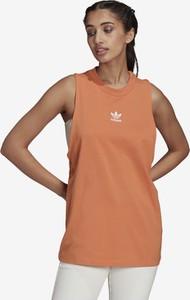 Brązowa bluzka Adidas Originals z okrągłym dekoltem z bawełny