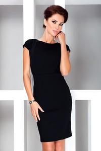 Czarna sukienka NUMOCO midi z okrągłym dekoltem dopasowana