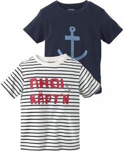 Granatowa koszulka dziecięca kidsworld z krótkim rękawem z napisami z dżerseju