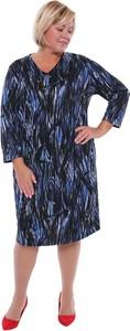 Sukienka modneduzerozmiary.pl w stylu casual z długim rękawem wyszczuplająca