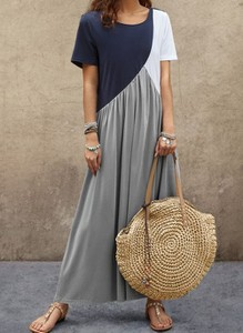 Sukienka Cikelly z okrągłym dekoltem z krótkim rękawem maxi