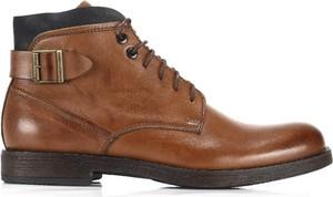 Brązowe buty zimowe Domeno sznurowane