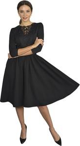 Czarna sukienka Kasia Miciak design z długim rękawem midi