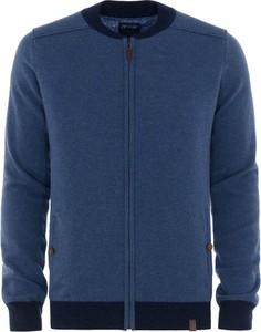 Niebieski sweter Ochnik w stylu casual z okrągłym dekoltem z wełny