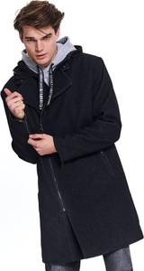 Czarny płaszcz męski Top Secret w młodzieżowym stylu
