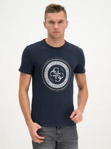 Granatowy t-shirt Guess z krótkim rękawem