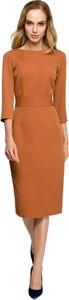 Brązowa sukienka Style z tkaniny z dekoltem w łódkę w stylu casual
