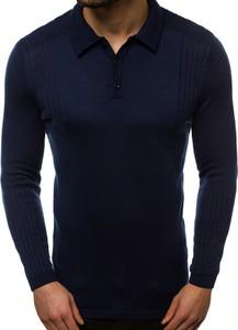 Granatowy sweter Ozonee z bawełny