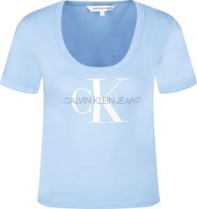T-shirt Calvin Klein w młodzieżowym stylu z okrągłym dekoltem