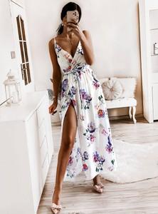 Sukienka Pakuten z bawełny z dekoltem w kształcie litery v maxi