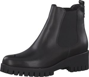 Czarne botki Tamaris z płaską podeszwą w stylu casual