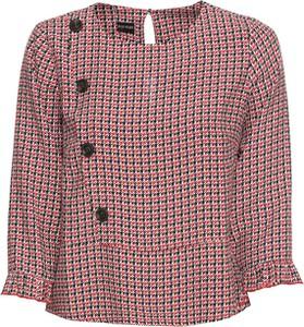 Czerwona bluzka bonprix BODYFLIRT z długim rękawem w stylu retro z okrągłym dekoltem