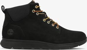 Czarne buty trekkingowe Timberland sznurowane z płaską podeszwą