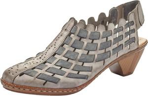Brązowe sandały Rieker na obcasie na średnim obcasie