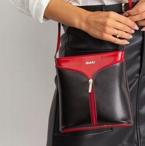 Czarna torebka Rovicky ze skóry średnia na ramię