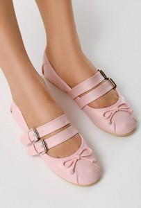 Różowe baleriny born2be z płaską podeszwą w stylu casual ze skóry ekologicznej