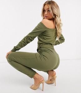 Zielony kombinezon Missguided z długimi nogawkami w stylu klasycznym