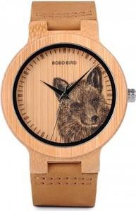 Drewniany zegarek bewell na bransolecie - ciemny brąz