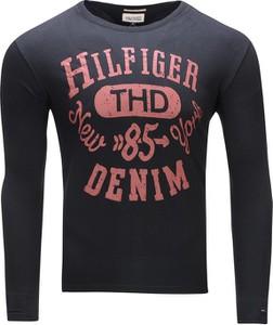 Czarna koszulka z długim rękawem Tommy Hilfiger z bawełny