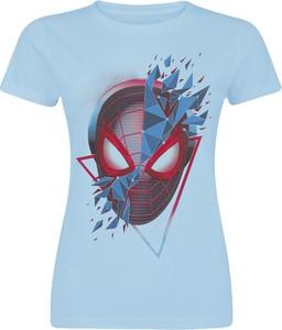 Niebieski t-shirt Emp w młodzieżowym stylu z bawełny z nadrukiem