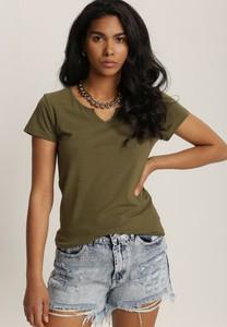 Zielony t-shirt Renee z krótkim rękawem w stylu casual